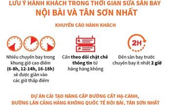 Lưu ý hành khách trong thời gian sửa sân bay Nội Bài và Tân Sơn Nhất