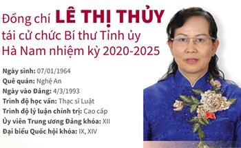 Đồng chí Lê Thị Thủy tái cử chức Bí thư Tỉnh ủy Hà Nam nhiệm kỳ 2020-2025