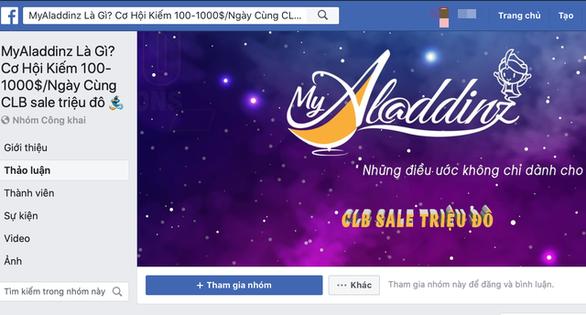 Một nhóm trên Facebook chiêu dụ người dùng bằng cơ hội kiếm đến 1.000 USD mỗi ngày bằng My Aladdinz. - Ảnh chụp màn hình.